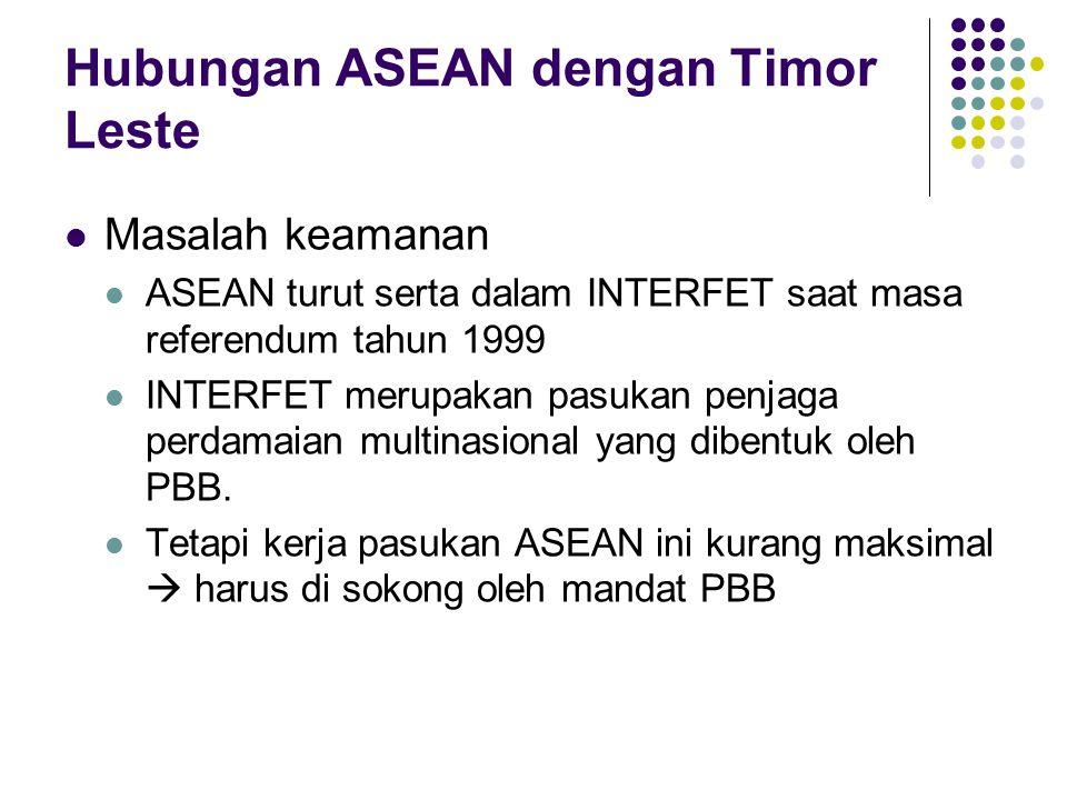Hubungan ASEAN dengan Timor Leste Masalah keamanan ASEAN turut serta dalam INTERFET saat masa referendum tahun 1999 INTERFET merupakan pasukan penjaga