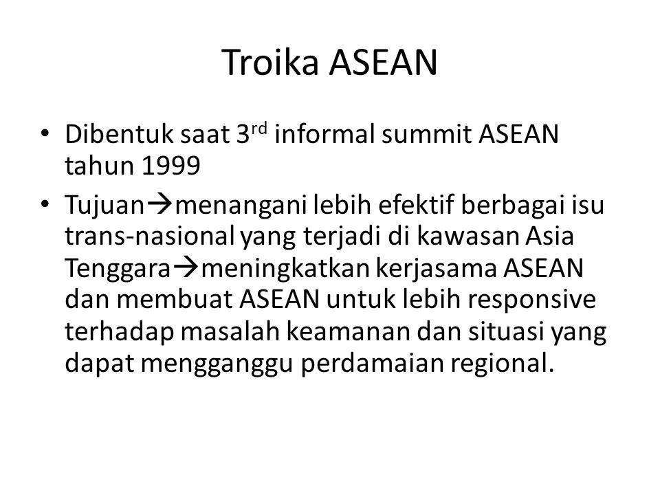 Troika ASEAN Dibentuk saat 3 rd informal summit ASEAN tahun 1999 Tujuan  menangani lebih efektif berbagai isu trans-nasional yang terjadi di kawasan