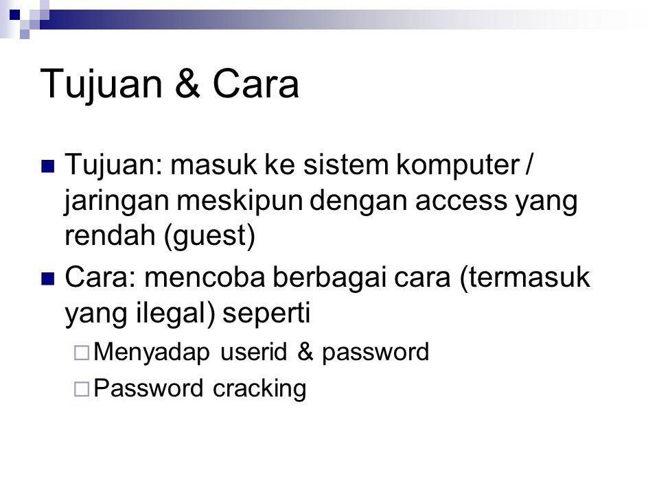 Tujuan & Cara Tujuan: masuk ke sistem komputer / jaringan meskipun dengan access yang rendah (guest) Cara: mencoba berbagai cara (termasuk yang ilegal