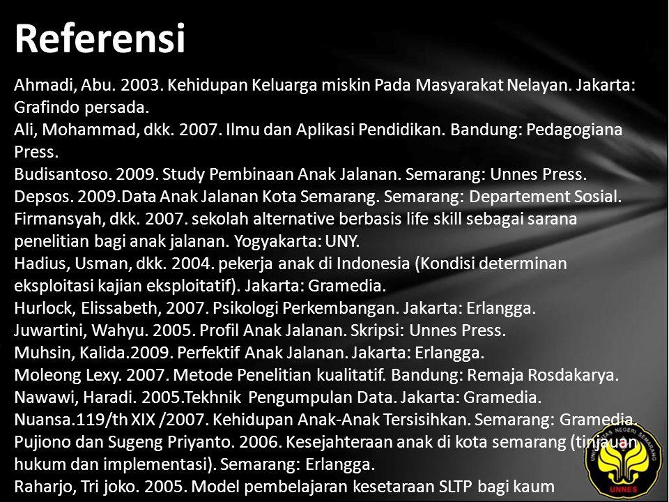 Referensi Ahmadi, Abu. 2003. Kehidupan Keluarga miskin Pada Masyarakat Nelayan. Jakarta: Grafindo persada. Ali, Mohammad, dkk. 2007. Ilmu dan Aplikasi
