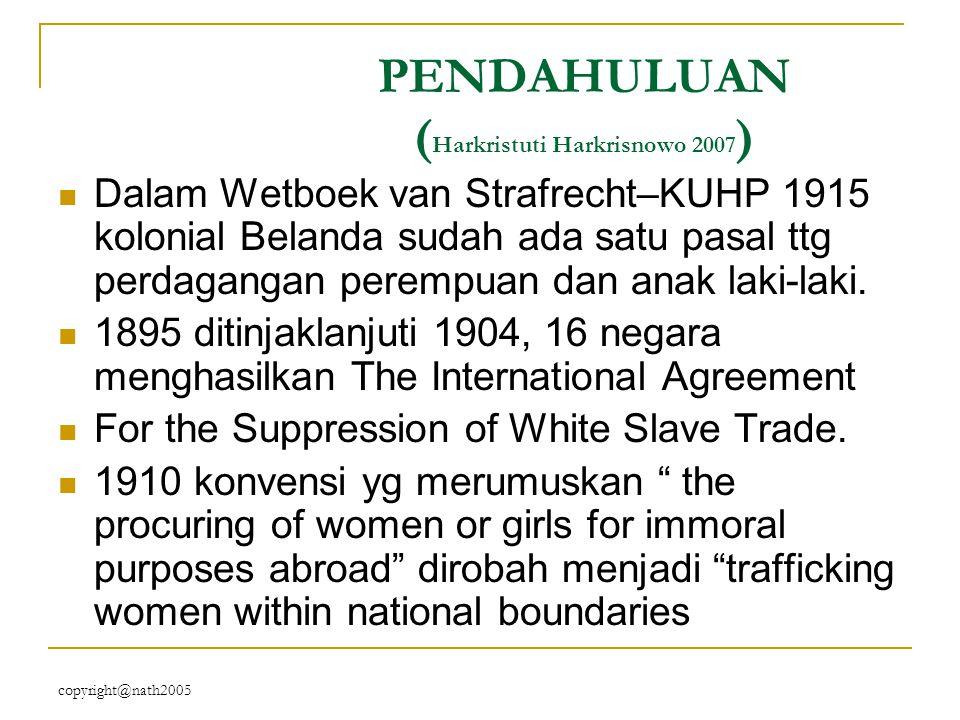 copyright@nath2005 Pasal-pasal (dalam KUHP) lainnya … 324 : perdagangan budak belian, perdagangan perbudakan sudah dihapuskan sejak 1 Januari 1860 tp pasal ini blm dicabut (perdagangan utk tuj ekspl ekonomi).