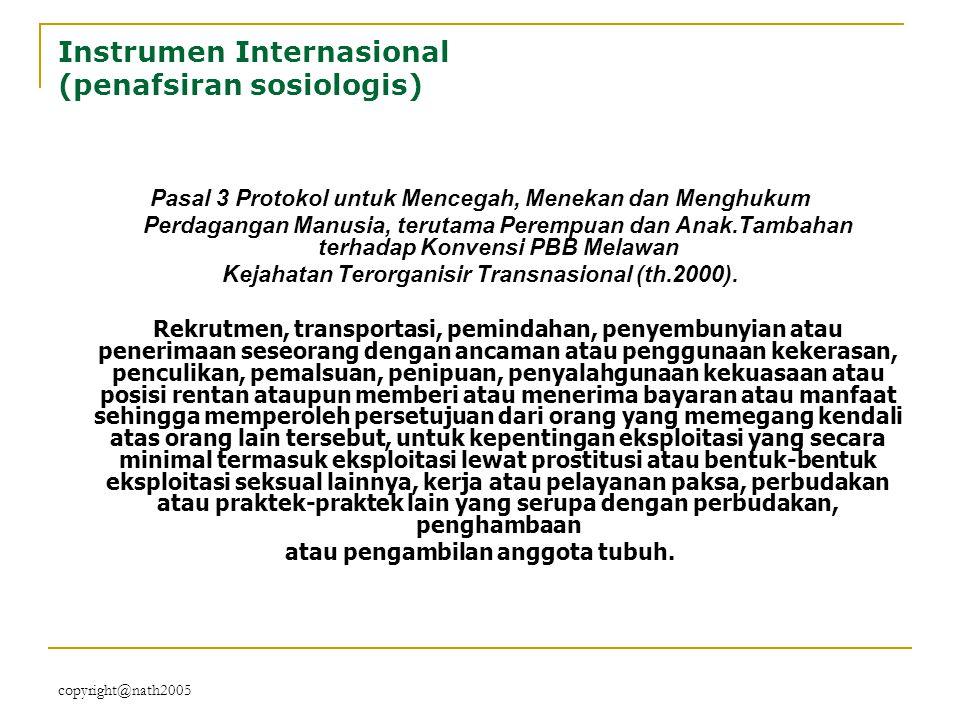 copyright@nath2005 Instrumen Internasional (penafsiran sosiologis) Pasal 3 Protokol untuk Mencegah, Menekan dan Menghukum Perdagangan Manusia, terutam