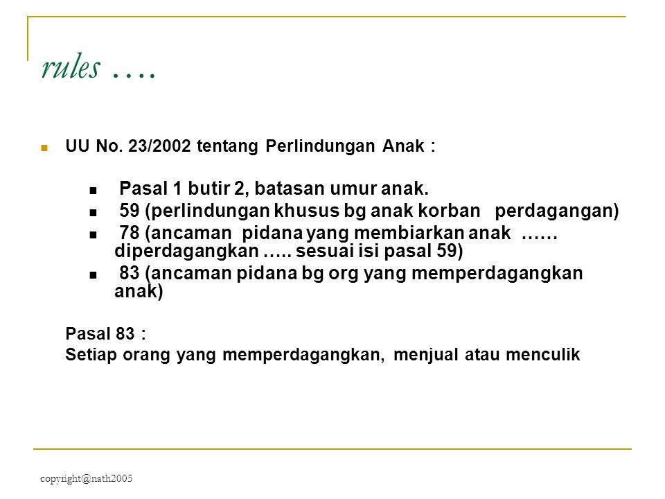 copyright@nath2005 rules …. UU No. 23/2002 tentang Perlindungan Anak : Pasal 1 butir 2, batasan umur anak. 59 (perlindungan khusus bg anak korban perd