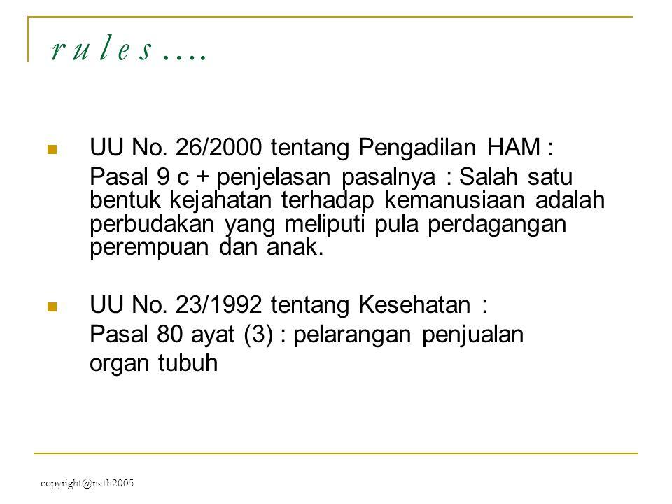 copyright@nath2005 r u l e s …. UU No. 26/2000 tentang Pengadilan HAM : Pasal 9 c + penjelasan pasalnya : Salah satu bentuk kejahatan terhadap kemanus