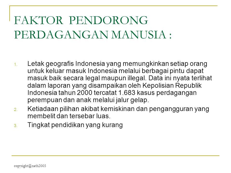 copyright@nath2005 FAKTOR PENDORONG PERDAGANGAN MANUSIA : 1. Letak geografis Indonesia yang memungkinkan setiap orang untuk keluar masuk Indonesia mel
