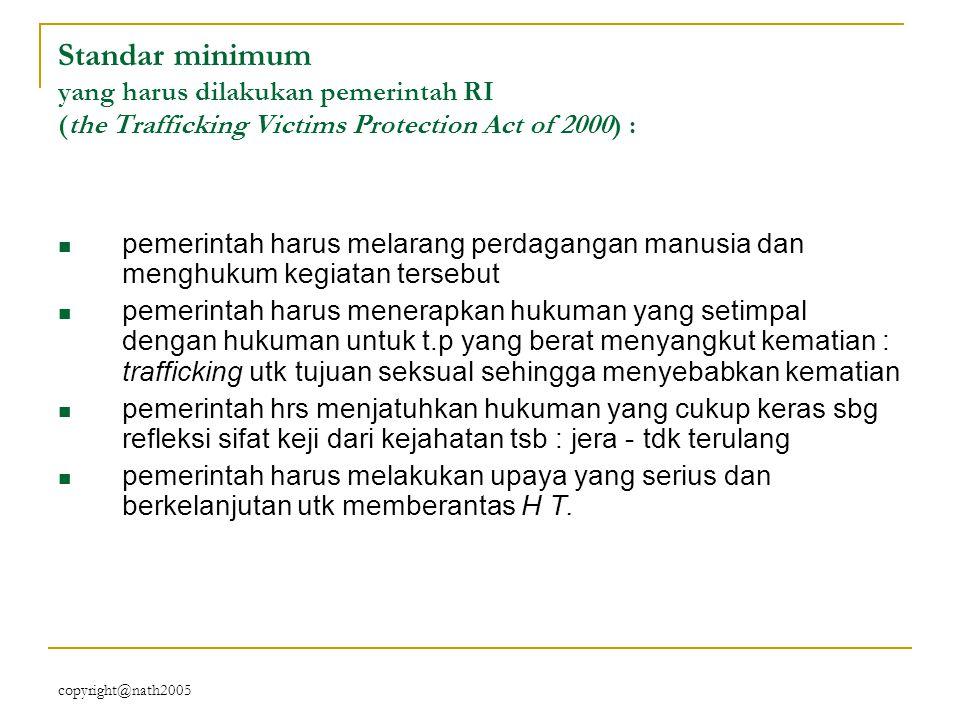 copyright@nath2005 Standar minimum yang harus dilakukan pemerintah RI (the Trafficking Victims Protection Act of 2000) : pemerintah harus melarang per