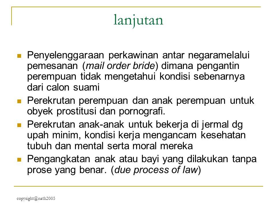 copyright@nath2005 lanjutan Penyelenggaraan perkawinan antar negaramelalui pemesanan (mail order bride) dimana pengantin perempuan tidak mengetahui ko