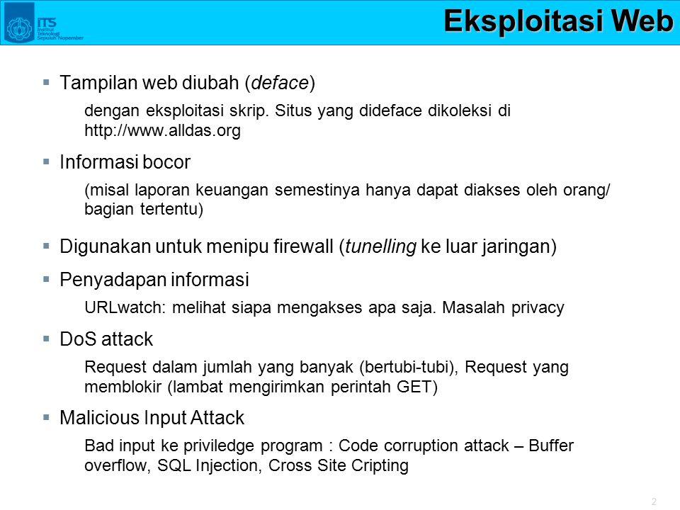 2 Eksploitasi Web  Tampilan web diubah (deface) dengan eksploitasi skrip. Situs yang dideface dikoleksi di http://www.alldas.org  Informasi bocor (m