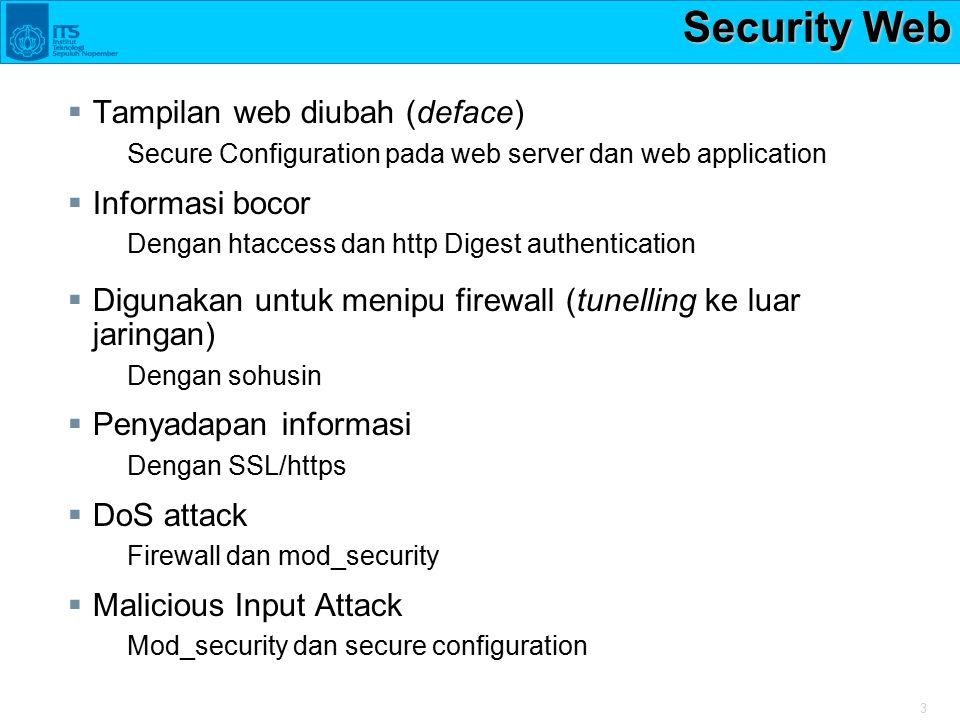 3 Security Web  Tampilan web diubah (deface) Secure Configuration pada web server dan web application  Informasi bocor Dengan htaccess dan http Dige