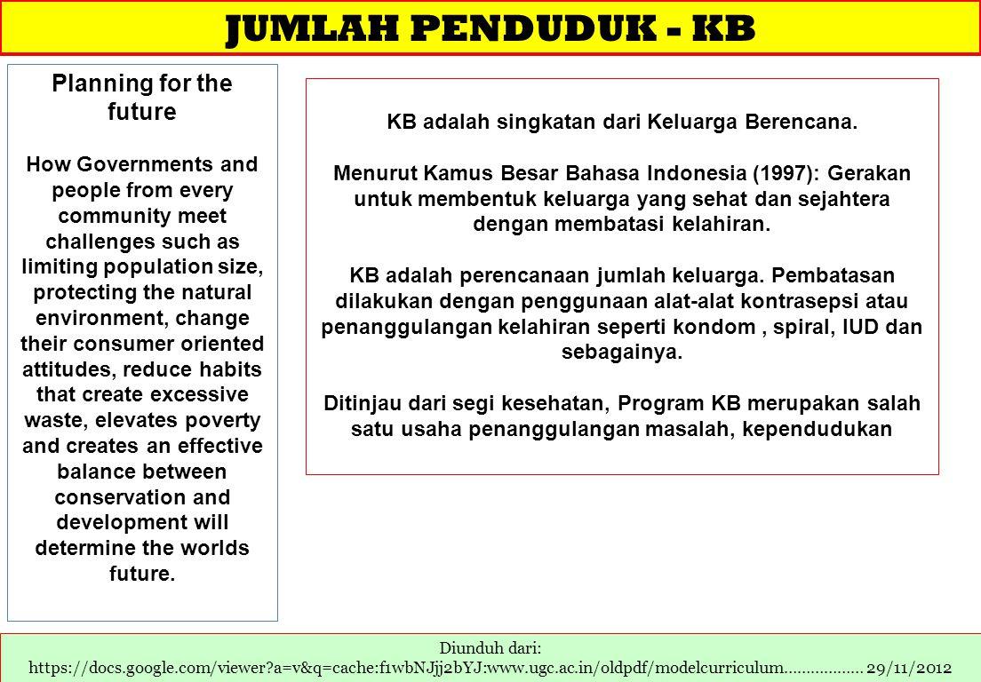 JUMLAH PENDUDUK - KB Diunduh dari: https://docs.google.com/viewer?a=v&q=cache:f1wbNJjj2bYJ:www.ugc.ac.in/oldpdf/modelcurriculum……………… 29/11/2012 Plann