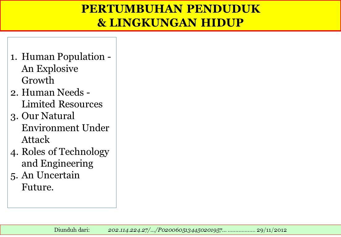 PERTUMBUHAN PENDUDUK & LINGKUNGAN HIDUP Diunduh dari: 202.114.224.27/.../P0200605134450201957... ……………… 29/11/2012 1.Human Population - An Explosive G