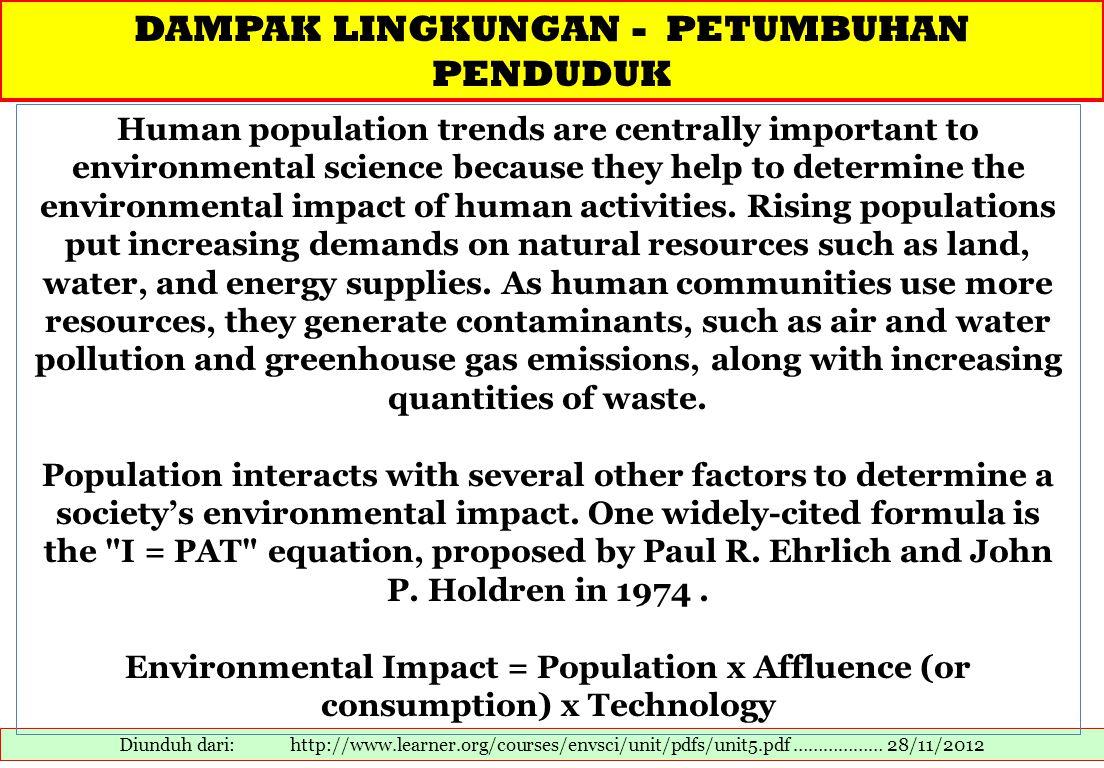 DAMPAK LINGKUNGAN - PETUMBUHAN PENDUDUK Diunduh dari: http://www.learner.org/courses/envsci/unit/pdfs/unit5.pdf ……………… 28/11/2012 Human population tre