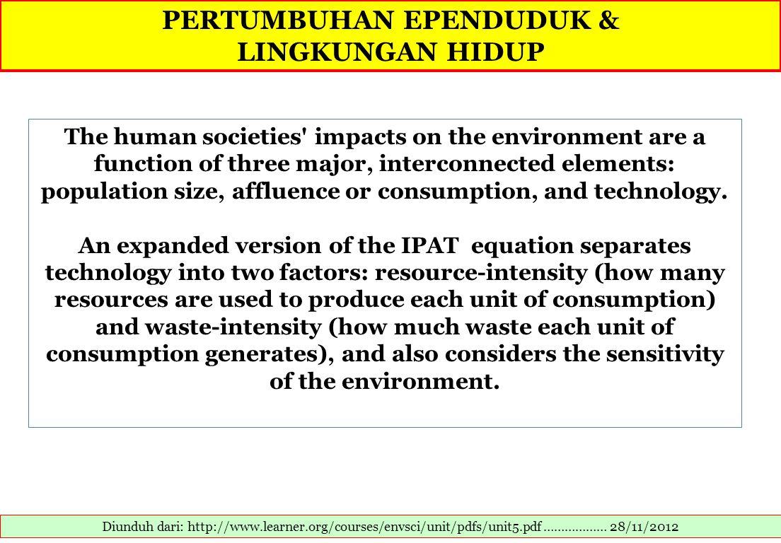 PERTUMBUHAN EPENDUDUK & LINGKUNGAN HIDUP Diunduh dari: http://www.learner.org/courses/envsci/unit/pdfs/unit5.pdf ……………… 28/11/2012 The human societies