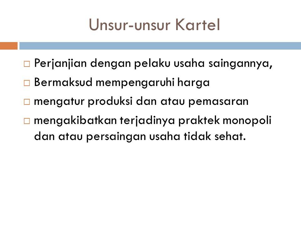 Jenis Kartel (1)  Kartel Daerah Dalam kartel daerah, daerah pemasarannya dibagi berdasarkan kesepakatan perjanjian.