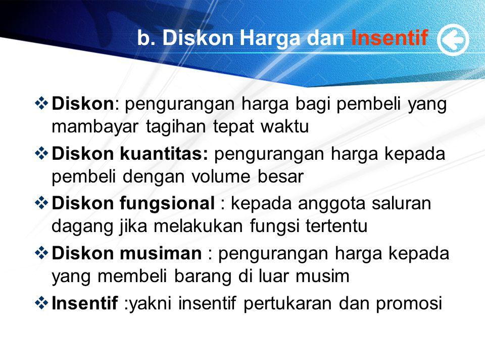 b. Diskon Harga dan Insentif  Diskon: pengurangan harga bagi pembeli yang mambayar tagihan tepat waktu  Diskon kuantitas: pengurangan harga kepada p