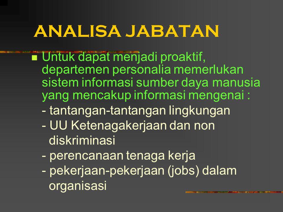 ANALISA JABATAN Untuk dapat menjadi proaktif, departemen personalia memerlukan sistem informasi sumber daya manusia yang mencakup informasi mengenai :