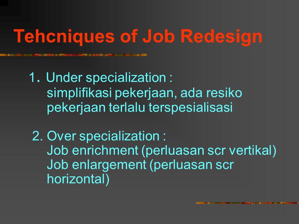 Tehcniques of Job Redesign 1. Under specialization : simplifikasi pekerjaan, ada resiko pekerjaan terlalu terspesialisasi 2. Over specialization : Job