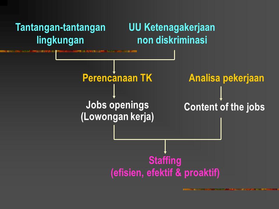 Tantangan-tantangan lingkungan UU Ketenagakerjaan non diskriminasi Perencanaan TK Jobs openings (Lowongan kerja) Analisa pekerjaan Content of the jobs