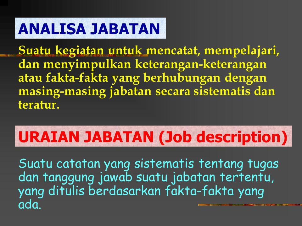 Persyaratan minimal yang harus dipenuhi oleh orang yang akan menduduki suatu jabatan, agar ia dapat melaksanakan tugas- tugas yang dibebankan kepadanya dengan baik.