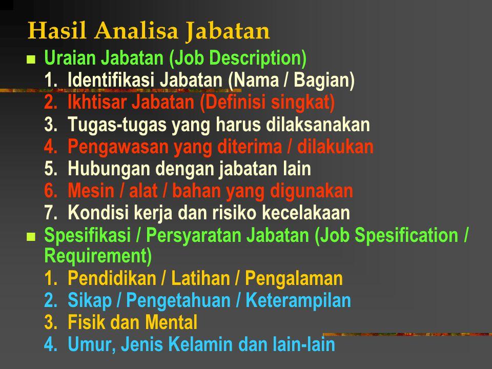Hasil Analisa Jabatan Uraian Jabatan (Job Description) 1. Identifikasi Jabatan (Nama / Bagian) 2. Ikhtisar Jabatan (Definisi singkat) 3. Tugas-tugas y