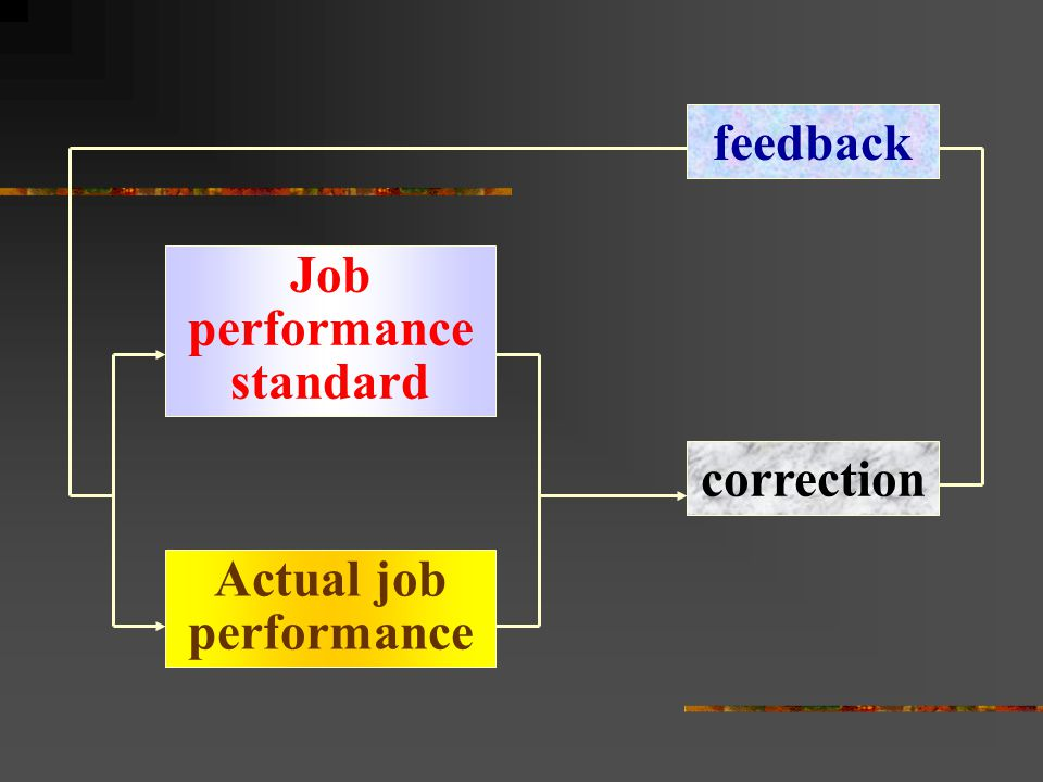 feedback Job performance standard correction Actual job performance