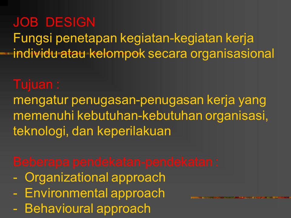JOB DESIGN Fungsi penetapan kegiatan-kegiatan kerja individu atau kelompok secara organisasional Tujuan : mengatur penugasan-penugasan kerja yang meme