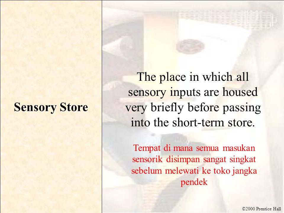 ©2000 Prentice Hall Sensory Store The place in which all sensory inputs are housed very briefly before passing into the short-term store. Tempat di ma