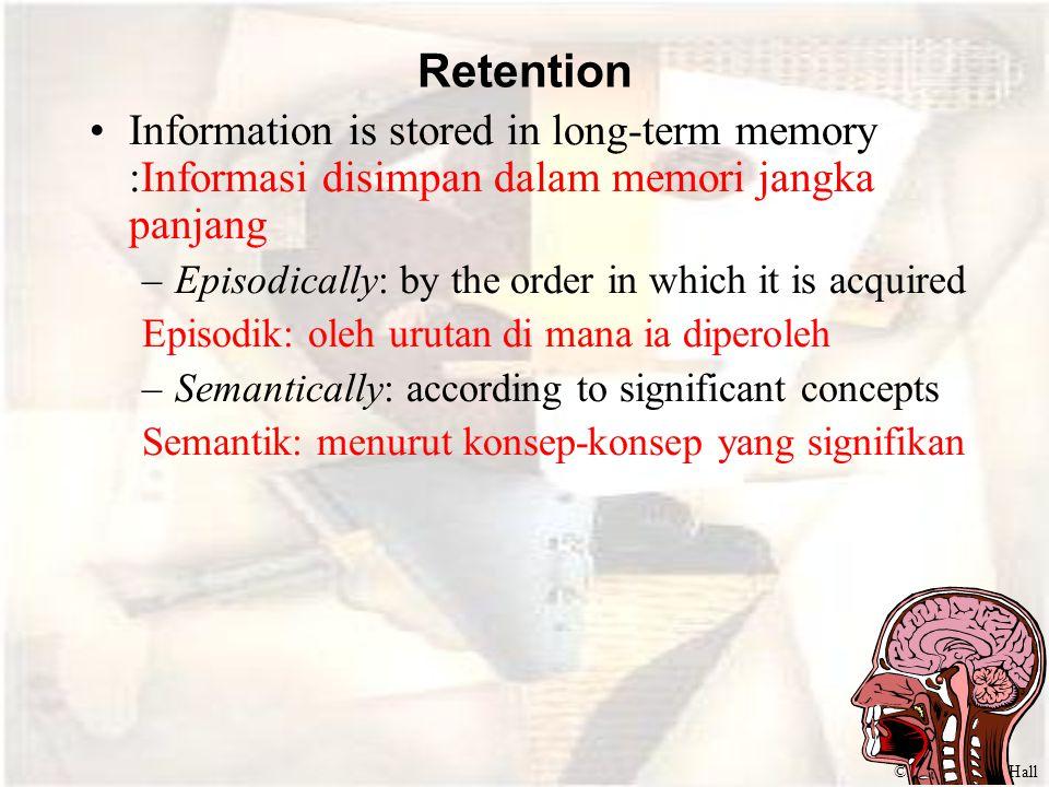 ©2000 Prentice Hall Retention Information is stored in long-term memory :Informasi disimpan dalam memori jangka panjang –Episodically: by the order in