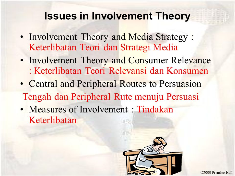 ©2000 Prentice Hall Issues in Involvement Theory Involvement Theory and Media Strategy : Keterlibatan Teori dan Strategi Media Involvement Theory and