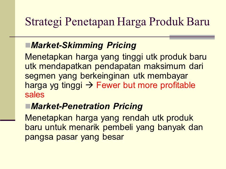 Strategi Penetapan Harga Produk Baru Market-Skimming Pricing Menetapkan harga yang tinggi utk produk baru utk mendapatkan pendapatan maksimum dari segmen yang berkeinginan utk membayar harga yg tinggi  Fewer but more profitable sales Market-Penetration Pricing Menetapkan harga yang rendah utk produk baru untuk menarik pembeli yang banyak dan pangsa pasar yang besar