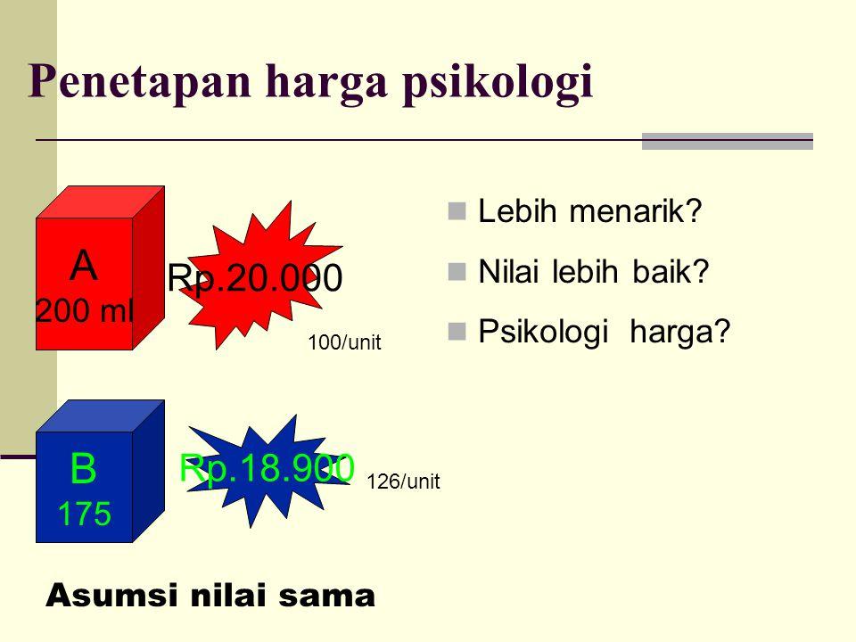 Penetapan harga psikologi Lebih menarik.Nilai lebih baik.