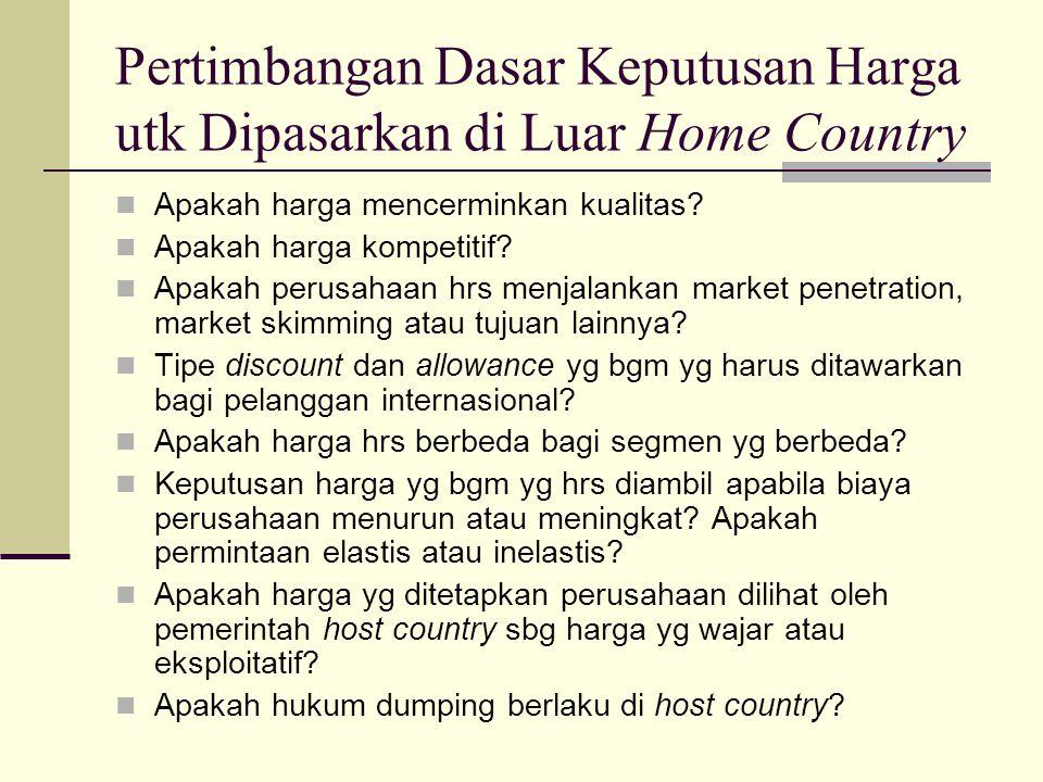 Pertimbangan Dasar Keputusan Harga utk Dipasarkan di Luar Home Country Apakah harga mencerminkan kualitas.