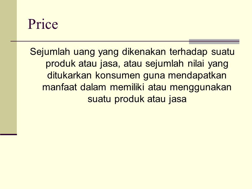 Price Sejumlah uang yang dikenakan terhadap suatu produk atau jasa, atau sejumlah nilai yang ditukarkan konsumen guna mendapatkan manfaat dalam memiliki atau menggunakan suatu produk atau jasa