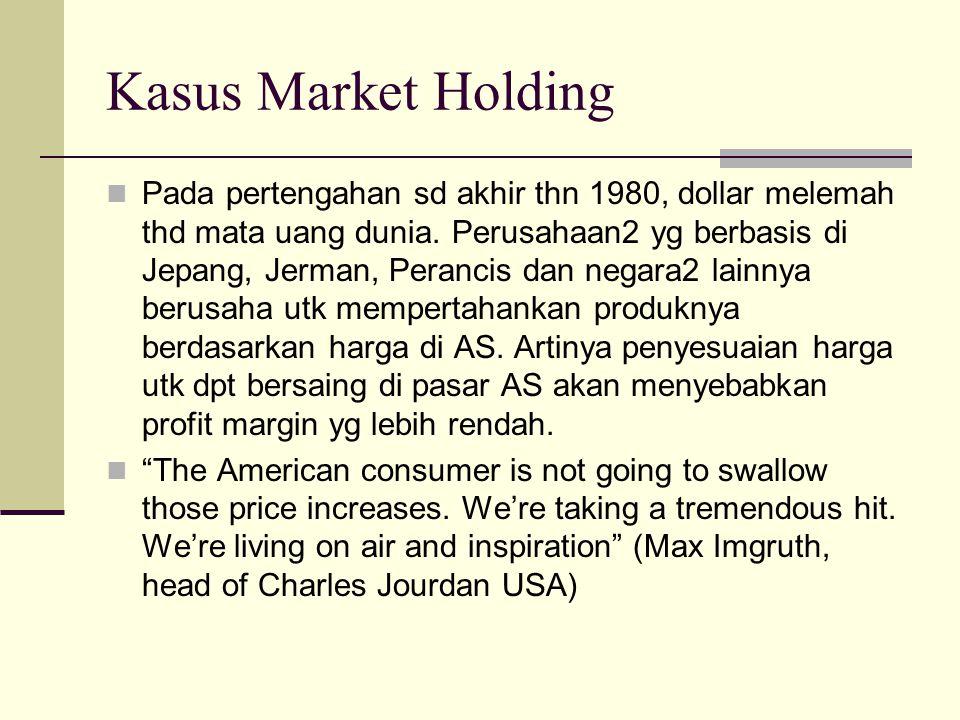 Kasus Market Holding Pada pertengahan sd akhir thn 1980, dollar melemah thd mata uang dunia.