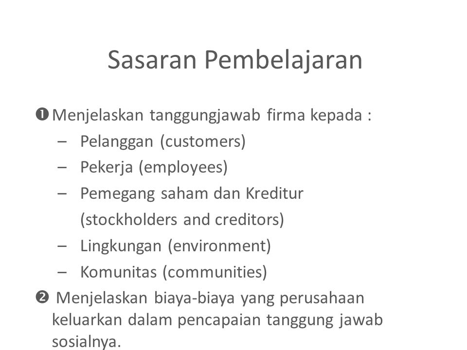 Firma dan Masyarakatan Business Ethics and Social Responsibility Business Decisions Firm's Earnings Value of Firm