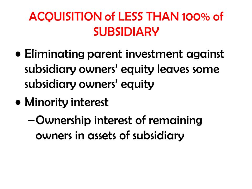 ACQUISITION of LESS THAN 100% of SUBSIDIARY Eliminating parent investment against subsidiary owners' equity leaves some subsidiary owners' equity Minority interest –Ownership interest of remaining owners in assets of subsidiary