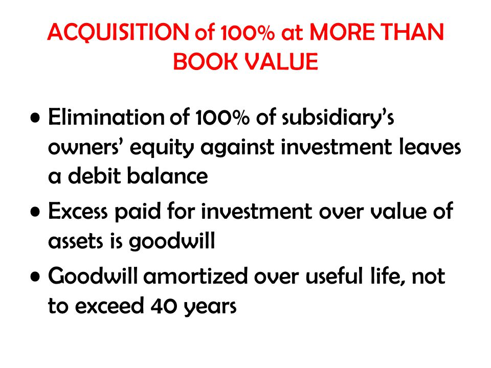 ACQUISITION of 100% at MORE THAN BOOK VALUE Elimination of 100% of subsidiary's owners' equity against investment leaves a debit balance Excess paid f