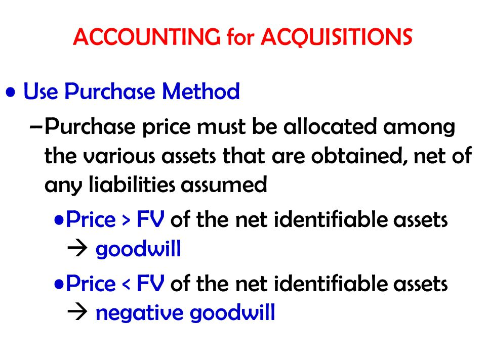 ACCOUNTING for ACQUISITIONS Use Purchase Method –Purchase price must be allocated among the various assets that are obtained, net of any liabilities a
