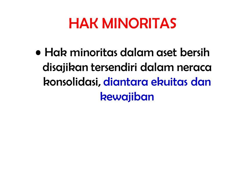 HAK MINORITAS Hak minoritas dalam aset bersih disajikan tersendiri dalam neraca konsolidasi, diantara ekuitas dan kewajiban