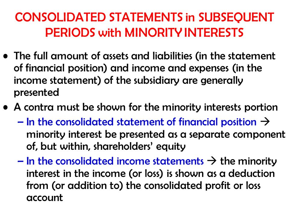 CONSOLIDATED STATEMENTS in SUBSEQUENT PERIODS with MINORITY INTERESTS The full amount of assets and liabilities (in the statement of financial positio