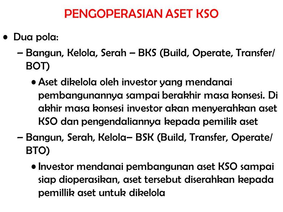 PENGOPERASIAN ASET KSO Dua pola: –Bangun, Kelola, Serah – BKS (Build, Operate, Transfer/ BOT) Aset dikelola oleh investor yang mendanai pembangunannya