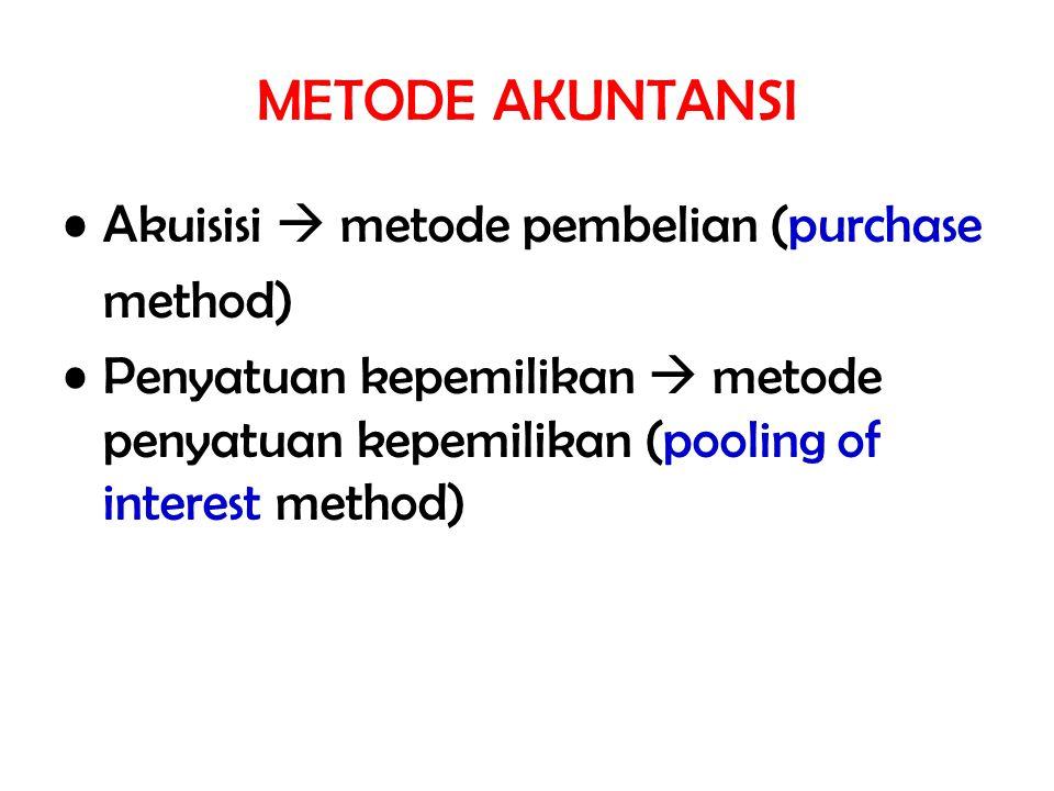 METODE AKUNTANSI Akuisisi  metode pembelian (purchase method) Penyatuan kepemilikan  metode penyatuan kepemilikan (pooling of interest method)