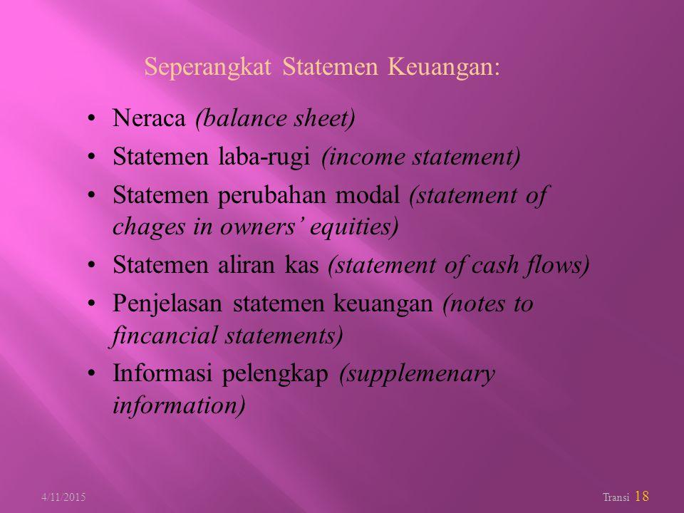4/11/2015 Transi 18 Seperangkat Statemen Keuangan: Neraca (balance sheet) Statemen laba-rugi (income statement) Statemen perubahan modal (statement of