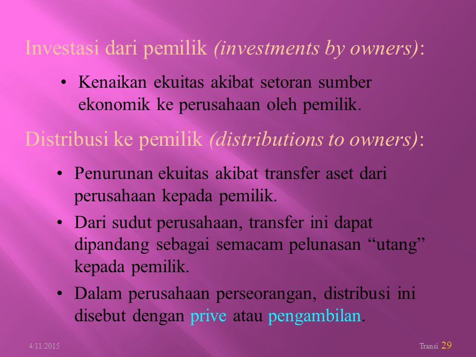 4/11/2015 Transi 29 Investasi dari pemilik (investments by owners): Kenaikan ekuitas akibat setoran sumber ekonomik ke perusahaan oleh pemilik. Distri