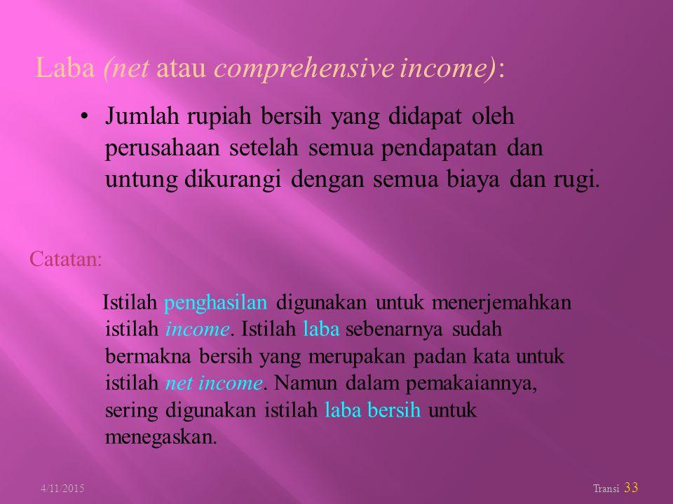 4/11/2015 Transi 33 Laba (net atau comprehensive income): Jumlah rupiah bersih yang didapat oleh perusahaan setelah semua pendapatan dan untung dikura