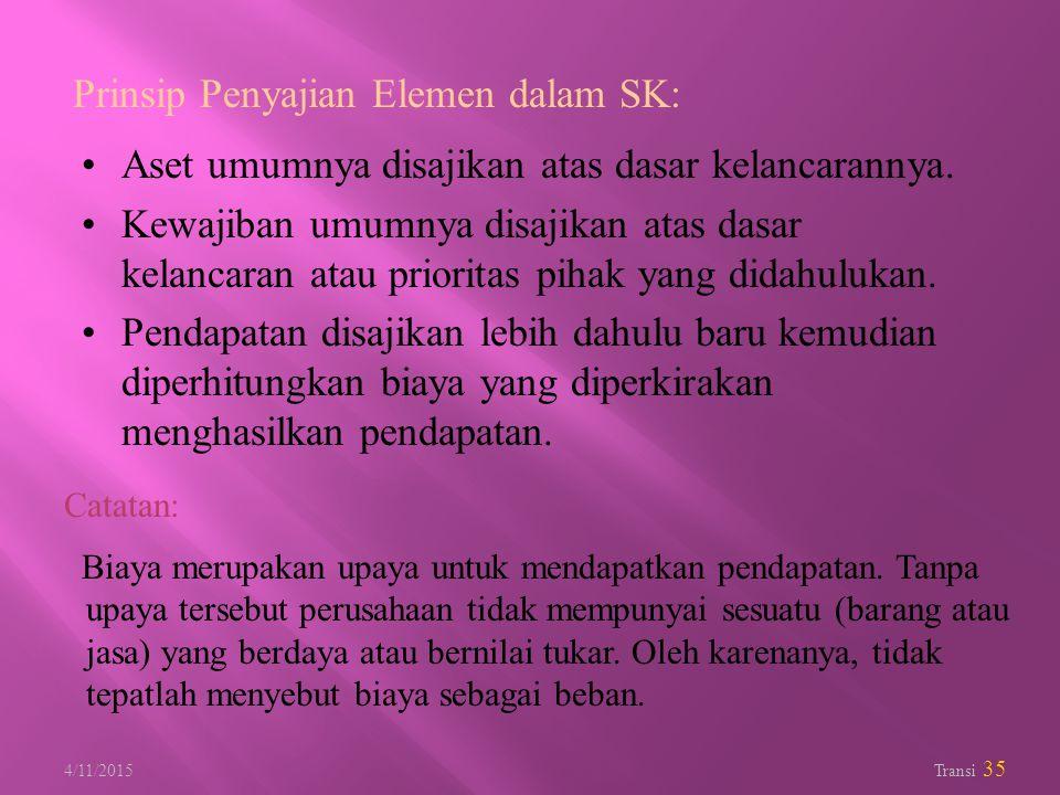 4/11/2015 Transi 35 Prinsip Penyajian Elemen dalam SK: Aset umumnya disajikan atas dasar kelancarannya. Kewajiban umumnya disajikan atas dasar kelanca