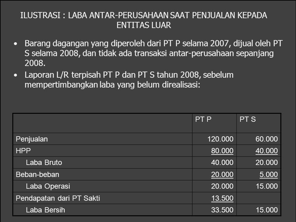 ILUSTRASI : LABA ANTAR-PERUSAHAAN SAAT PENJUALAN KEPADA ENTITAS LUAR Barang dagangan yang diperoleh dari PT P selama 2007, dijual oleh PT S selama 200
