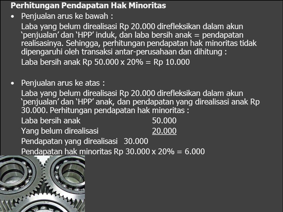 Perhitungan Laba Bersih Konsolidasi Catatan : Perbedaan dalam perhitungan laba bersih konsolidasi berdasarkan asumsi arus ke atas dan arus ke bawah hanya terletak pada perhitungan pendapatan hak minoritas.