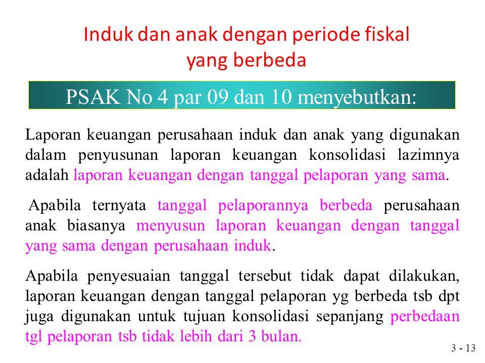 3 - 12 Kebijakan Konsolidasi Perusahaan anak tidak dikonsolidasi jika (PSAK No. 4) 1 Pengendalian dimaksudkan untuk sementara. 2 Pengendalian dibatasi