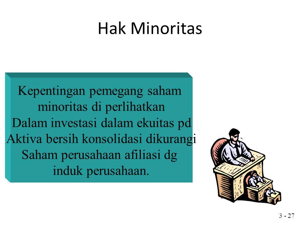 3 - 26 Hak Minoritas Hak minoritas anak perusahaan umumnya Disajikan terpisah dalam neraca konsolidasi pd Bagian kewajiban. Altrernatif lain adalah me